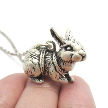 Realistic Bunny Rabbit Shaped Pendant Necklace in Silver | DOTOLY