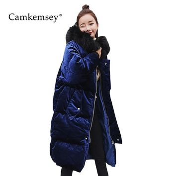 CamKemsey Fur Collar Winter Jacket Women Long Parkas Thick Hooded Corduroy Coat Women Cotton Parkas Oversized Winter Coat