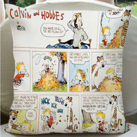 calvin and hobbes comic pillow cover pillow case design by summug