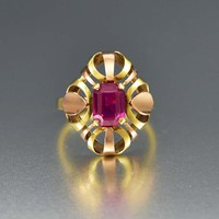 Fine French 14K Yellow and Rose Gold Ruby Ring