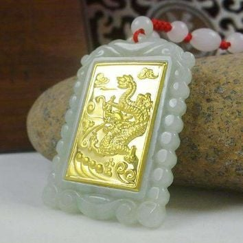 Gold Jade Square Dragon Pendant Necklace