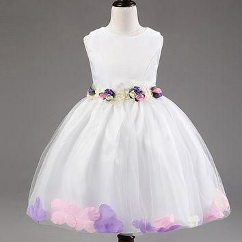 Flower Girl Dresses for Weddings Pageant Baby Girl Colorful  Princess Dress Toddler Junior Child Bridesmaid Costume Gift