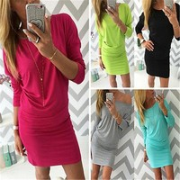Long Sleeve Tight Slim Cotton Womens Bodycon Mini Wrap Dress Casual
