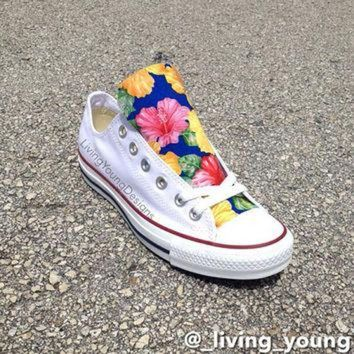 DCKL9 Custom Floral Converse Shoes / Island Floral Chuck Taylors