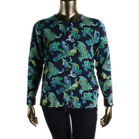 Charter Club Womens Plus Knit Paisley Cardigan Top