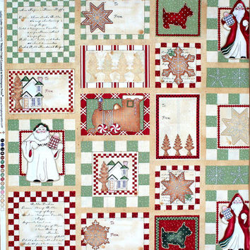Cookie Cutter Christmas Quilting Fabric PANEL by J Wecker-Frisch OOP
