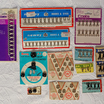 Vintage Hook & Eye Fasteners, Domes, Snap Fasteners Antique Sewing Ephemera