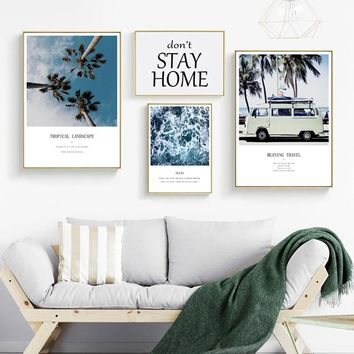 SVITY Quadro Sea View Bus Nordic Poster Green Leaf Coconut Tree Wall Art Canvas Painting Wall Pictures For Living Room FA720