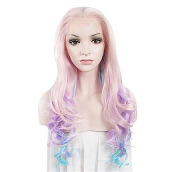 Pink Pastel Colorful Wave Long Synthetic Lace Front Wig
