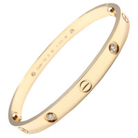 Cartier Love Four Diamond Yellow Gold Bangle Bracelet