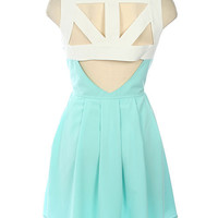 Teal Cutout Open Back Sleeveless Dress with Pleating Front