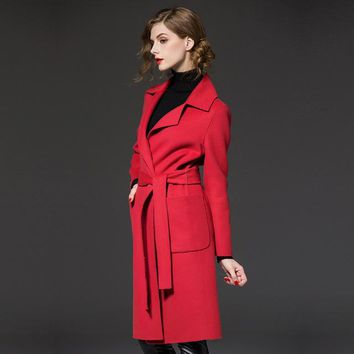 Cashmere Wool Coat  Medium Long Female Single Breasted Turn-Down Collar Trench Coat