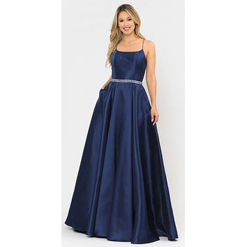Navy Blue Long Prom Dress with Criss-Cross Lace-Up Back