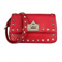 Rectangular Mini Shoulder Bag with Pyramid Stud Details