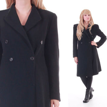 Emporio Armani Wool Coat Long Black Double Breasted Structured Military Inspired Blazer 80s 90s Vintage Winter Outerwear Womens Size Medium