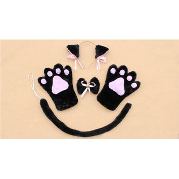 Anime Cosplay Costume Accessory Hairwear Fancy Cat Neko Hairbands With Ears Set Maid Lolita Plush Glove Paw Ear Tail New