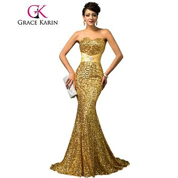 Grace Karin Mermaid Evening Dress Red Gold Sequin Strapless Luxury Women Abendkleider Long Formal Special Occasion Dress 2017