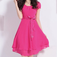 Pink Bowknot Short Sleeve Layered Chiffon Dress