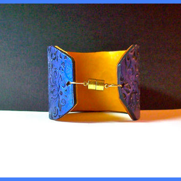 Sapphire Blue Brocade 2 in Cuff Bracelet Polymer Clay Handcrafted Magnetic Clasp