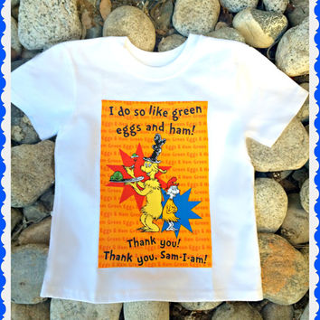Boys Dr Seuss shirt Green Eggs and Ham Cat in the Hat applique Shirt Top 3T 4/5 6/7 8/10 12/14 ready to ship