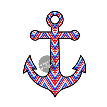 Anchor Car Decal Sticker: Patriotic American Tribal Pattern Cute Nautical Beach Bumper Sticker Laptop Decal Red White Blue