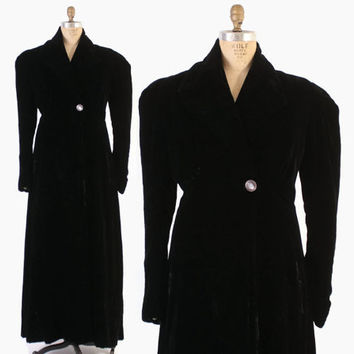Vintage 30s Velvet COAT / 1930s - 40s Black Velvet Puffed Sleeve Long Evening Opera Coat L