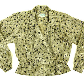 Vintage Polka Dot Gold Blouse - Wrap Crossover Grid Print Jacket Double Breasted Satin 80's - Women's Size Medium Med M