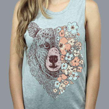 Flower Bear Muscle Tank