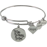 Stainless Steel Expandable Charm Bangle Bracelet Be You Be Happy Be Kind
