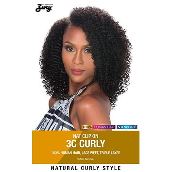 "Zury Naturali Star 3C Curly 16"" Clip On 9 Pieces 100% Human Hair Clip & Go"