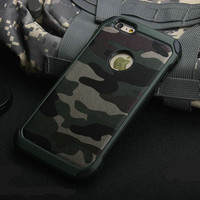 * Army Camo Camouflage Hard Back Cover for iPhone 6 / 6S / 6 Plus / 6S Plus / 5S Fundas Armor Protective Phone Case Couqe IDOOLS