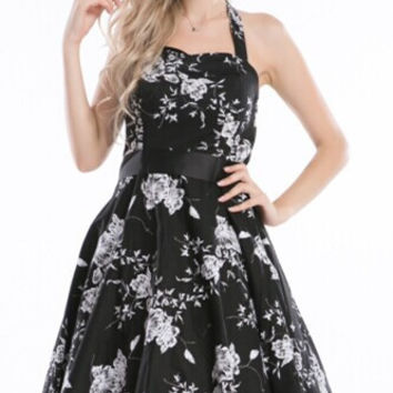 walson real photo New 50s Lady Floral Print Full Circle Pinup Vintage Style Swing Rockabilly Dress black white size s-6xl