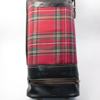 The 19th Hole -Vintage Travel Golf Barware set - Whiskey Decanter and Shot glasses with Lock in Plaid case