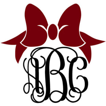 Bow Monogram Decal with Vine Font - Multiple Colors