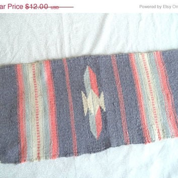 SALE Woven dresser scarf/ vintage native/ southwestern woven wall hanging or dresser/ nightstand scarf/ pink grey off white tapestry