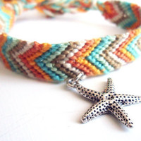 Starfish Friendship Bracelet Charm Wood Beads Boho Surf Style Beach Beachy Ocean Breeze Summer Fashion Pookie Design