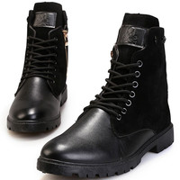 Ankle Boots Casual Lace-Up Soft Leather Skull Boots For Men