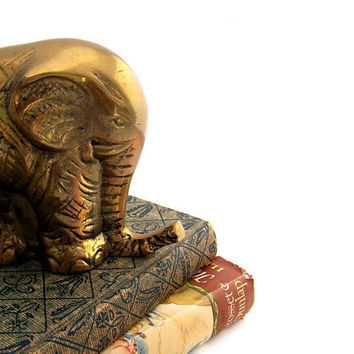 Vintage Brass Elephant Piggy Bank Figurine