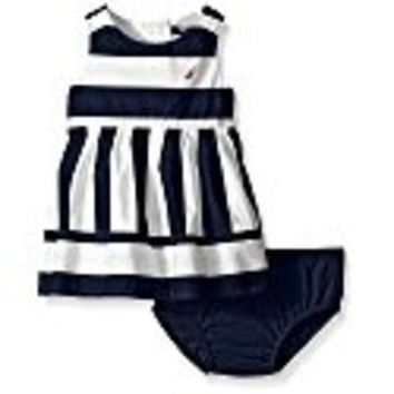 DCCKWV6 Nautica Baby Girls' Multi-Directional Stripe Dress