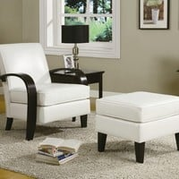 A.M.B. Furniture & Design :: Living room furniture :: Accent chairs :: Beige bonded leather accent chair with ottoman with dark finish wood bent arm and legs