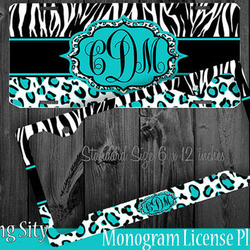 Leopard Monogram License Plate Frame Holder Aqua Teal Zebra Cheetah Animal Print Pattern Personalized Custom Vanity Tag Cover