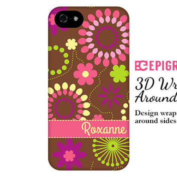 Personalized iPhone 6 case, retro flowers iPhone 6 plus case, pink floral iPhone case, iPhone 5c case, custom iphone 5s case, iPhone 4s case