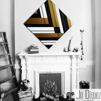 Made to order. Original abstract painting on canvas. 33 3/4x33 3/4. Geometric with gold, black. Canvas art. Big painting. Metallic wall art