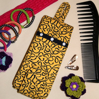 Yellow Navy Blue Ribbons Purse Sized Barrettes-a-Mess Case, Mini Hair Organizer, Travel Hair Pouch, OOAK Gift Item