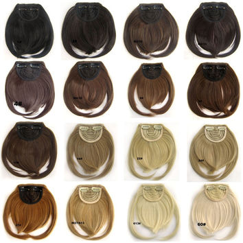 Clip in on synthetic hair bang B3 front neat Heat Resistance  hair fringe hair frinde  20 colors available,30g, 1pc
