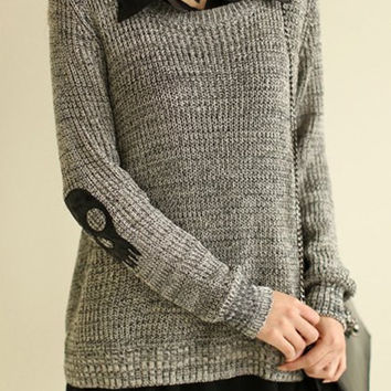 Gray Turn-Down Collar Skull Pattern Sweater with Sleeveless Blouse