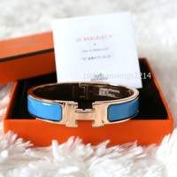 Authentic Hermes H Clic Clac Blue Cielo Rose Gold Enamel Bangle Bracelet size PM