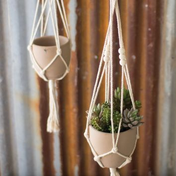 Cotton Macrame Hanger with Clay Pot -- Natural 30-in x 5-in