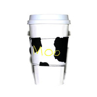 "Black and White Coffee Sleeve // Cow Print Coffee Cuff // Personalized Embroidered ""Moo"" Drink Cozy"