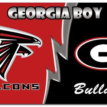 House divided flag of Atlanta Falcons and Georgia Bulldogs 3ftx5ft Banner 100D Polyester Flag metal Grommets
